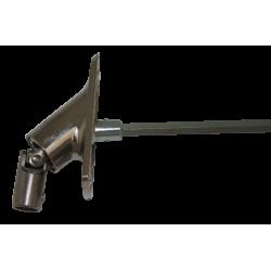 sortie de caisson 90° entrée pivot 9,9 sortie carré de 6 longueur 380mm platine alu chromé
