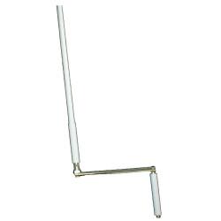 Sortie de caisson en kit aimanté 90° entrée pivot 9,9 sortie  carré de 7 longueur 320mm platine alu chromé  85 X 22 mm